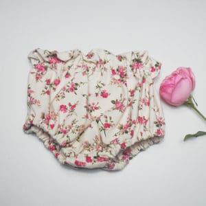Bloomer Agathe et Marceau à ceinture froncée, jersey imprimé petites roses fait main, tissu Oeko-Tex