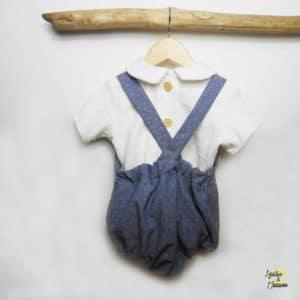 chemise col claudine double gaze GOTS et bloomer bretelles Agathe et Marceau