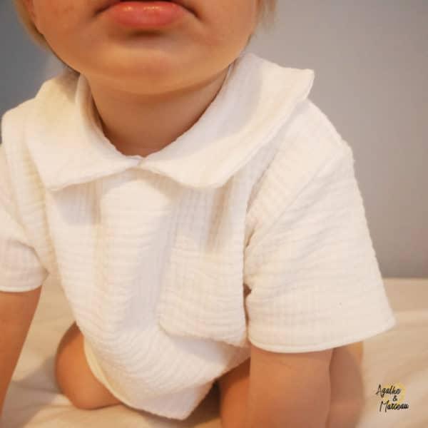 chemise col claudine double gaze GOTS