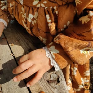 robe velours fille marron fleurs Agathe & Marceau